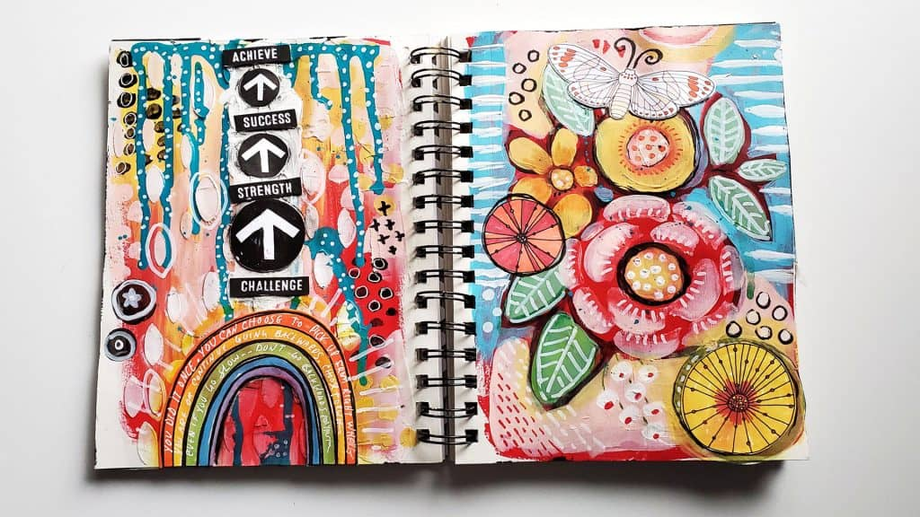 Mixed Media Art Journal Page with Vibrant Flowers, Rainbow and a message of positivity