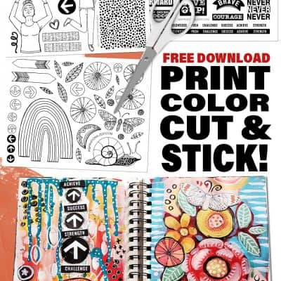 FREE PRINTABLE STICKERS TO DOWNLOAD, PRINT AND COLOR FOR MIXED MEDIA COLLAGE! | MOVING FORWARD