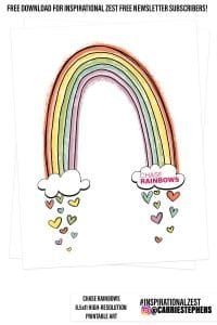 Chase Rainbows Free Wall Art Printable - Colorful Rainbow & Hearts Illustration