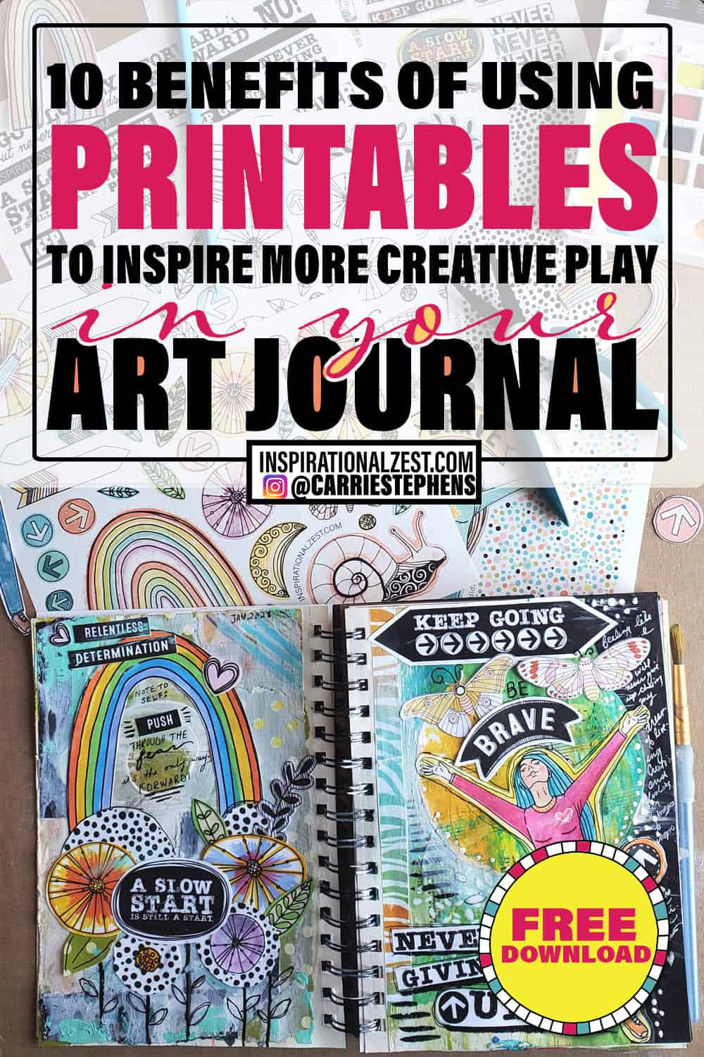 Art Journal Spread - 10 Benefits of using printables to inspire creative play in your art journal
