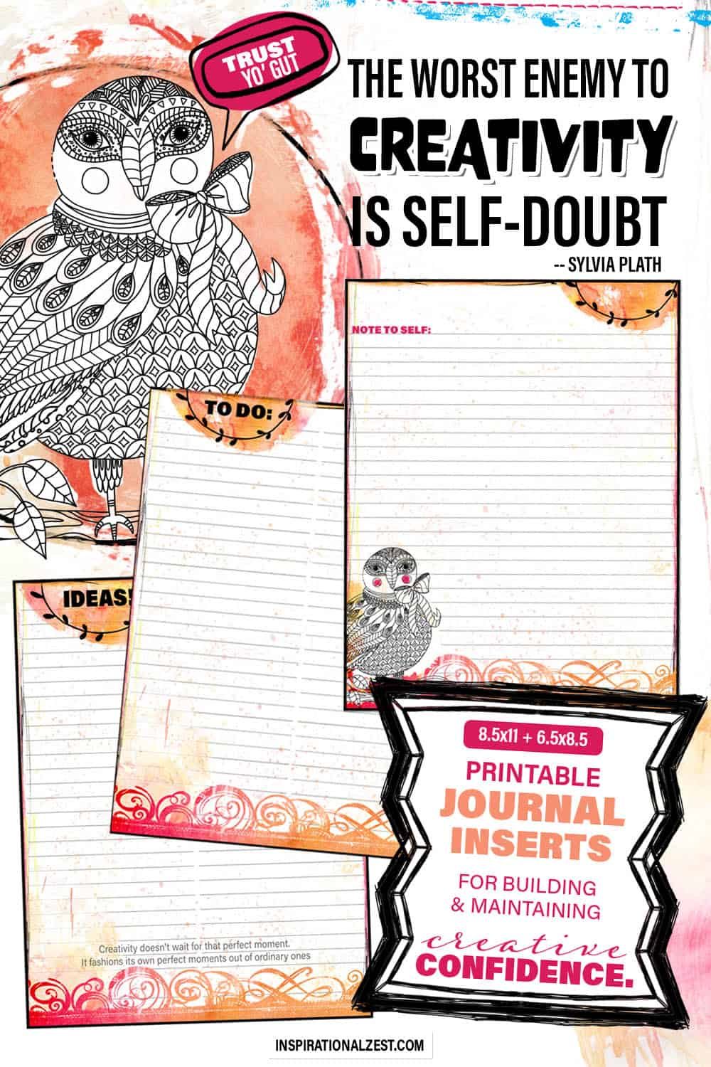 Three Printable Planner Sheets for Exploring your own creative ideas. orange and pink owl themed