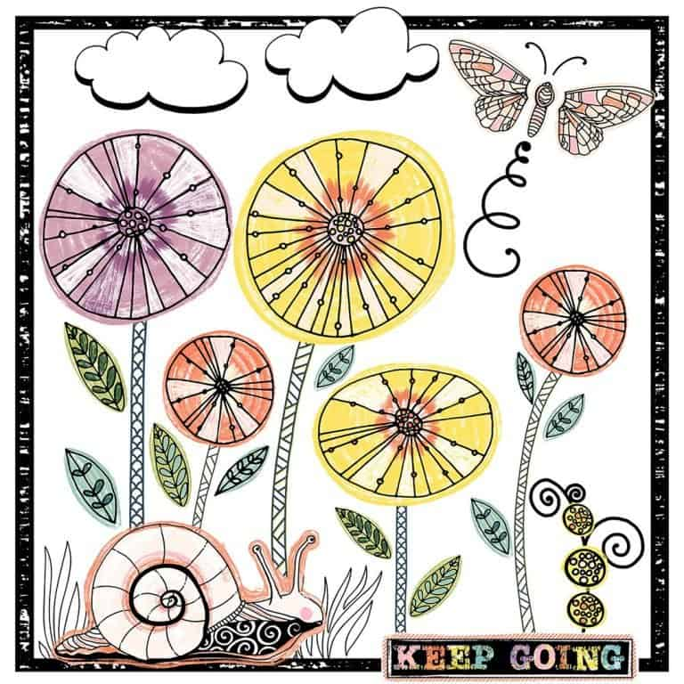Keep going motivational Illustration quote card for social media