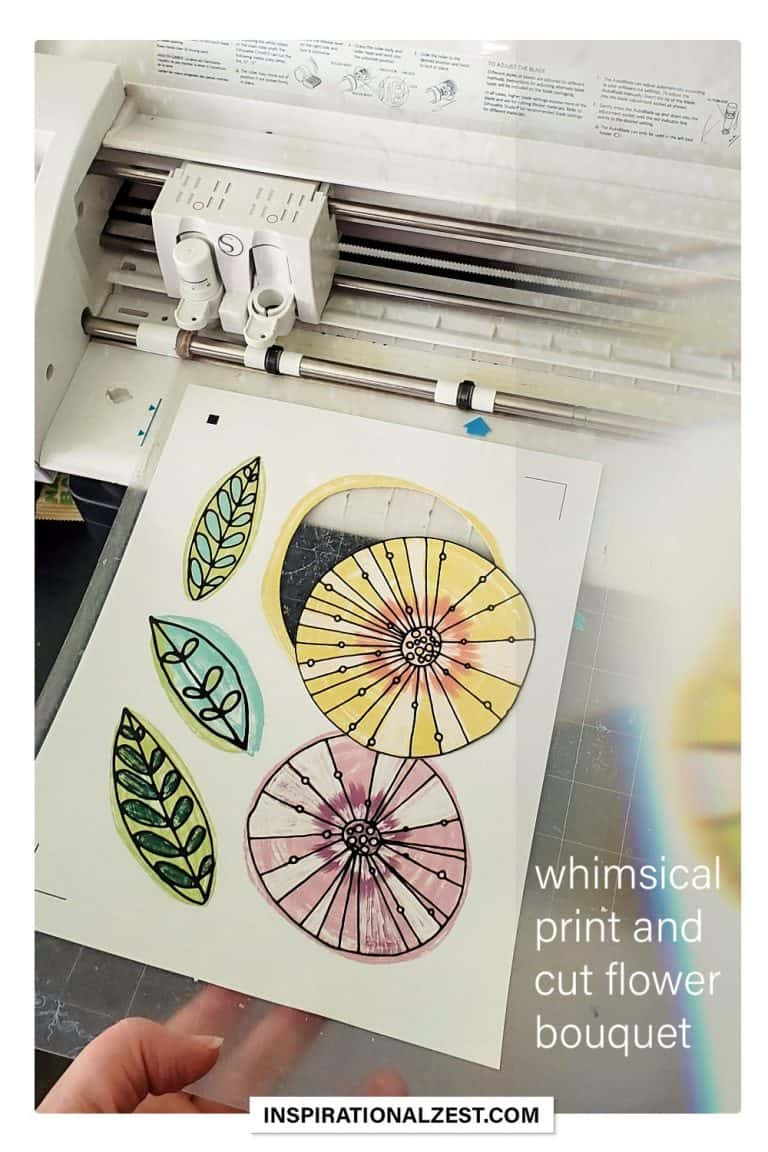 Image of whimsical flowers being cut out by the silhouette cutting machine