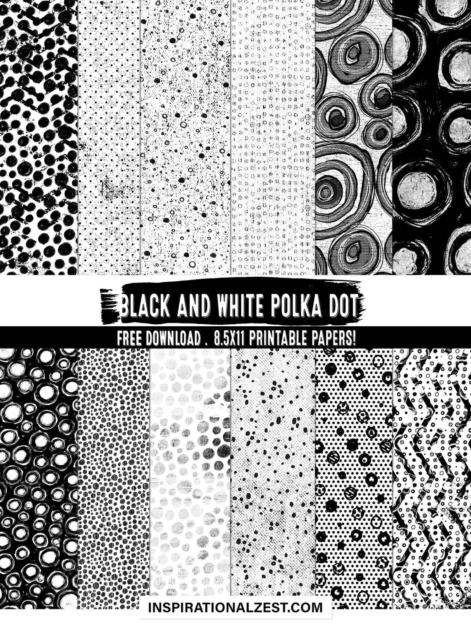 Free Printable Pattern Paper | Black and White Polka Dot