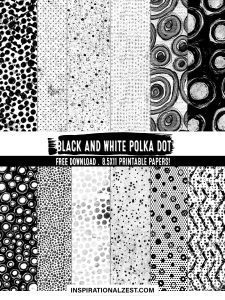 Black and White Polka Dot Digital Paper Free Download Image