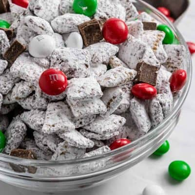 Christmas Puppy Chow Christmas treat with red and green m&ms