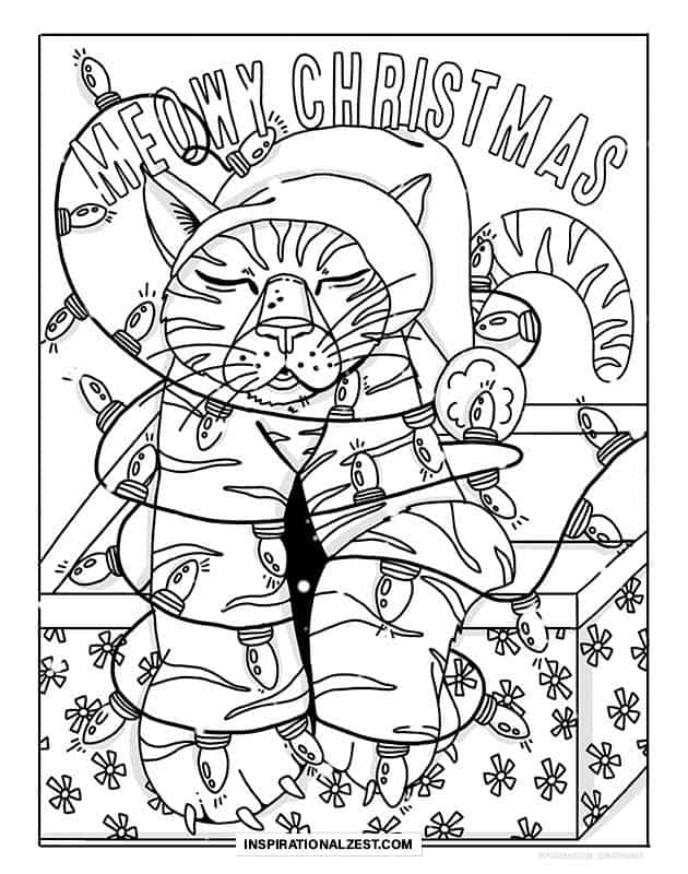 A black and white line image of a cat in a Christmas present box and a santa hat, wrapped in holiday lights, intended for coloring in