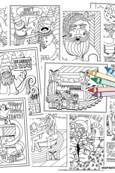 10 Cute Christmas Coloring Pages for Kids, Printable Download