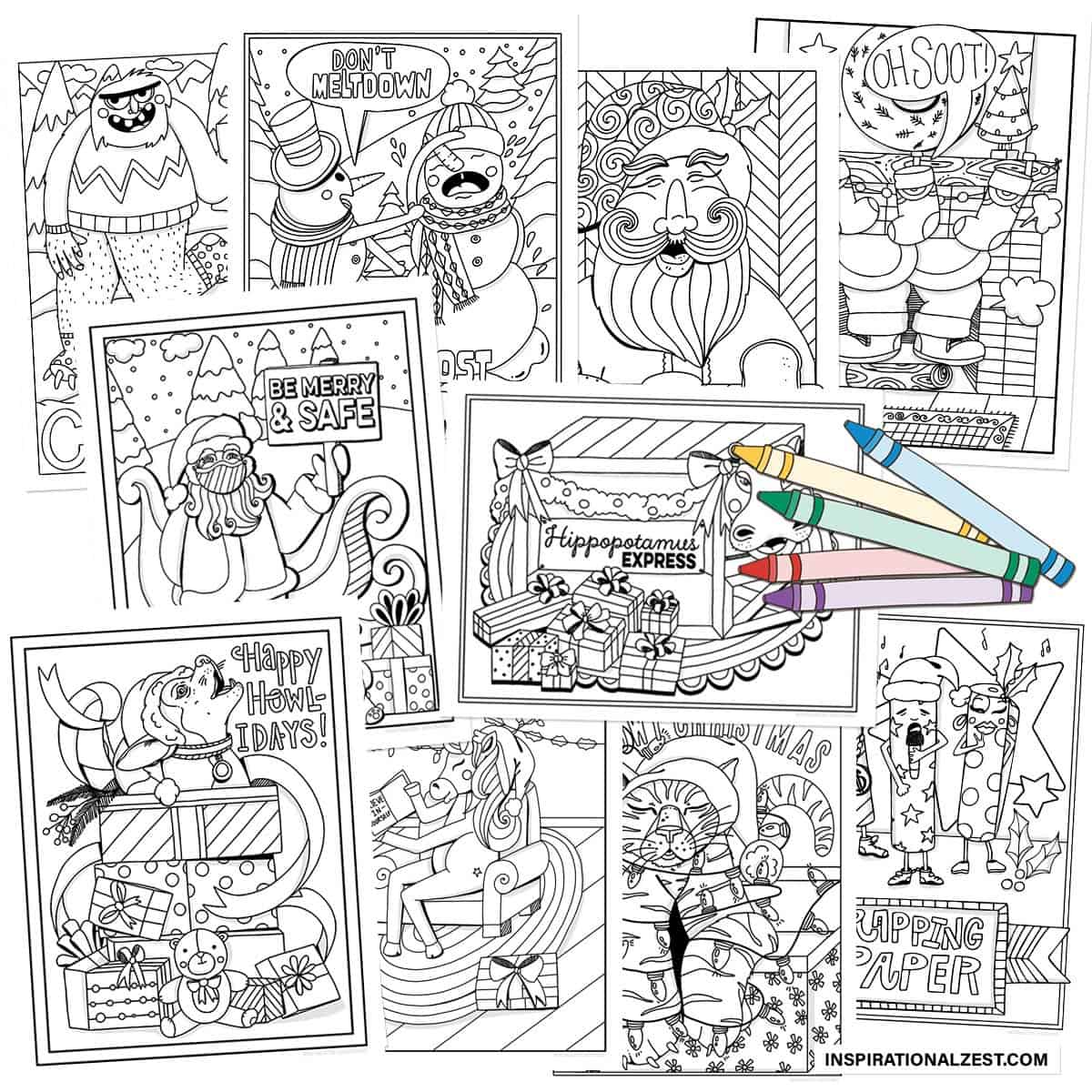 10 CUTE Christmas Coloring Pages for Kids
