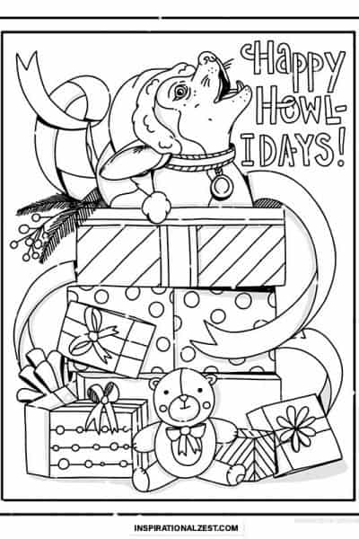 line drawing of puppy in christmas present boxes for coloring in