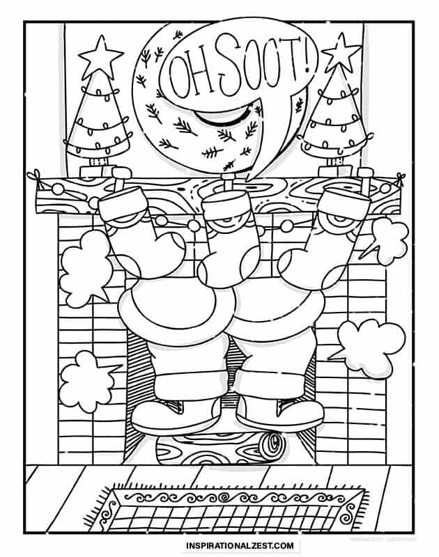 Line illustration of Santa Claus Stuck in fireplace with soot flying out for coloring in.
