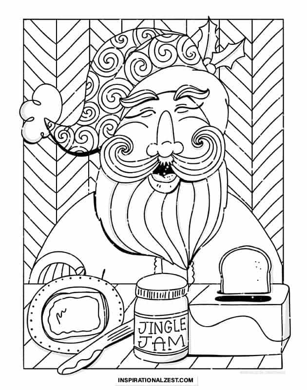 A black and white Line Drawing of Santa claus that depicts him eating jingle jam on toast and smiling.