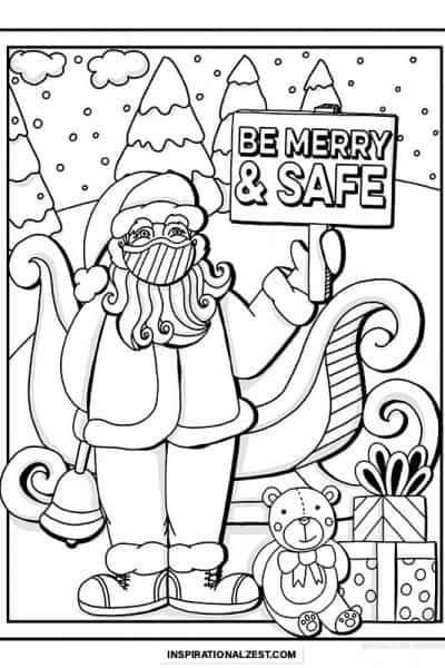 Drawing of santa with his sleigh and toys holding a sign that says, be merry and safe. This is the image available for download