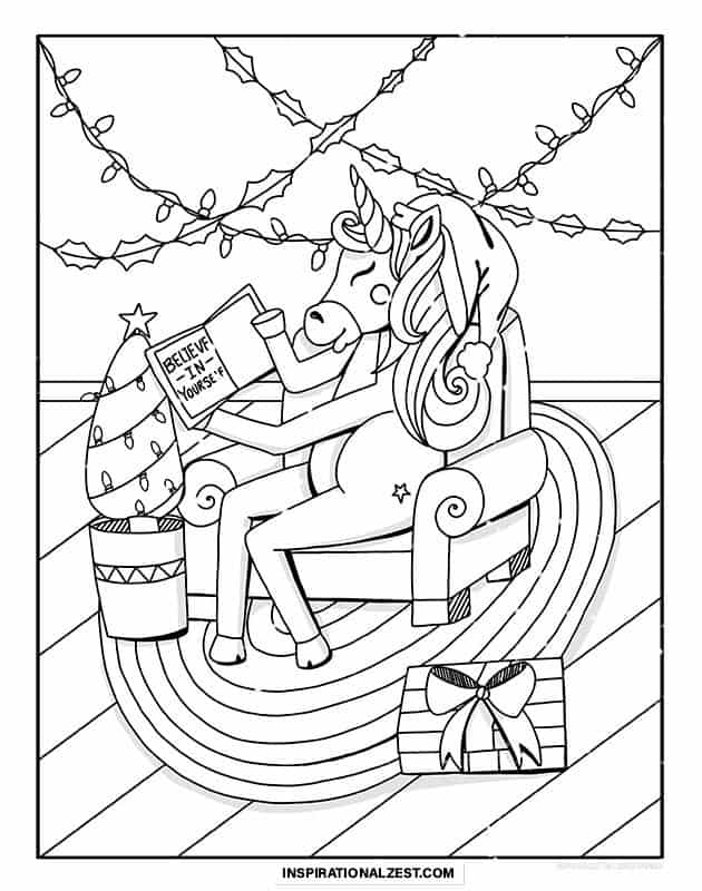 Christmas themed unicorn line drawing, a unicorn reading a book that says believe in yourself.