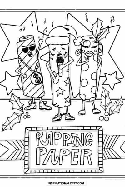 rapping wrapping paper line drawing image for coloring