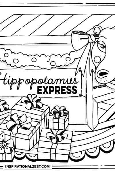 Christmas Hippopotamus in a box Line Drawing for Coloring