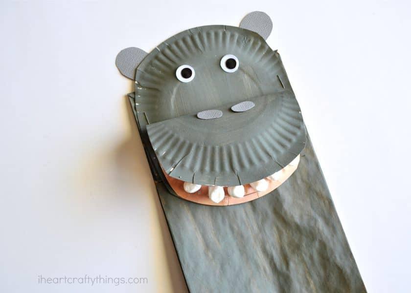 paper bag hippopotamus craft for kids