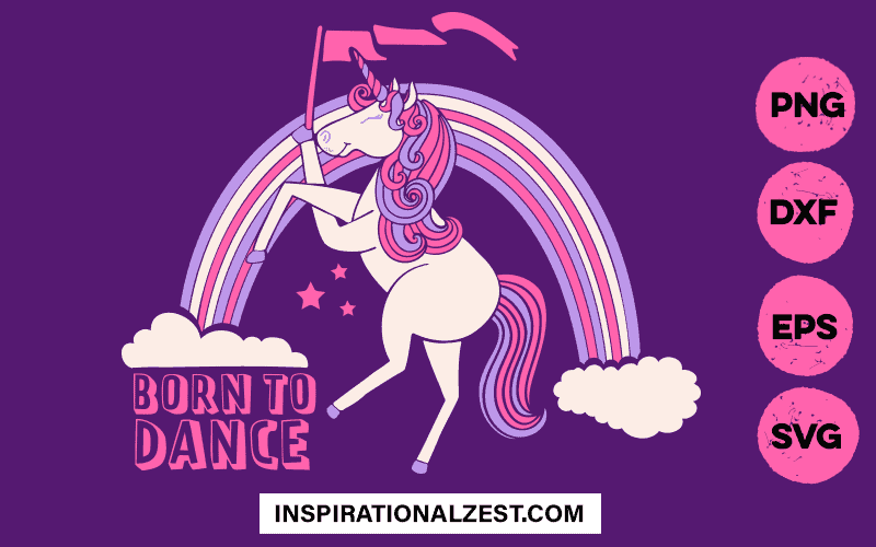 Dancing Rainbow Unicorn SVG cut file Image