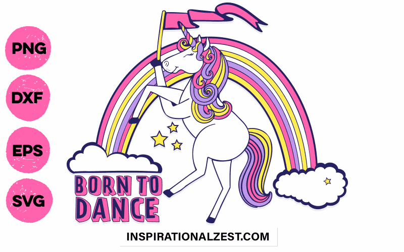 Unicorn with rainbow dancing