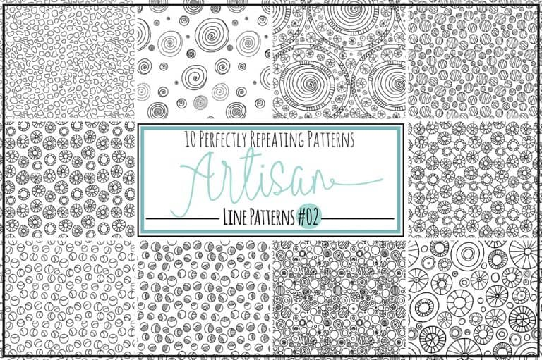 Repeating Pattern tiles - Black Line Doodle Patterns from Creative Market