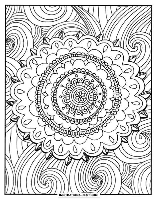 Black and White Mandala Coloring Page Line art drawing