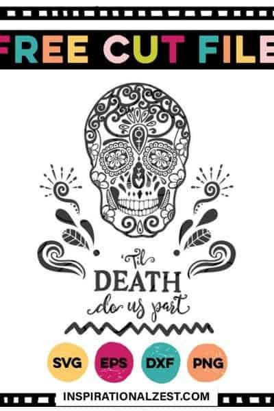 A sugar skull image that says til death do us part, black