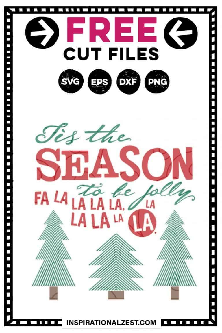 Modern Christmas Trees with Lines and a Fun Text style that says Tis the Season To be Jolly