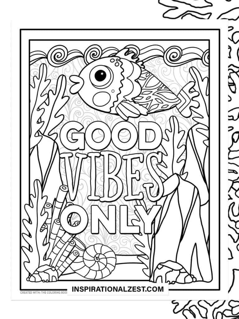 Good Vibes Only typography Saying with Black and White Illustration of Fish