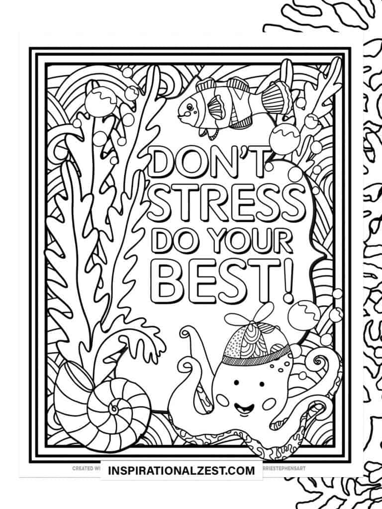 Don't Stress typography Saying with Black and White Illustration of Fish and Cute Octopus