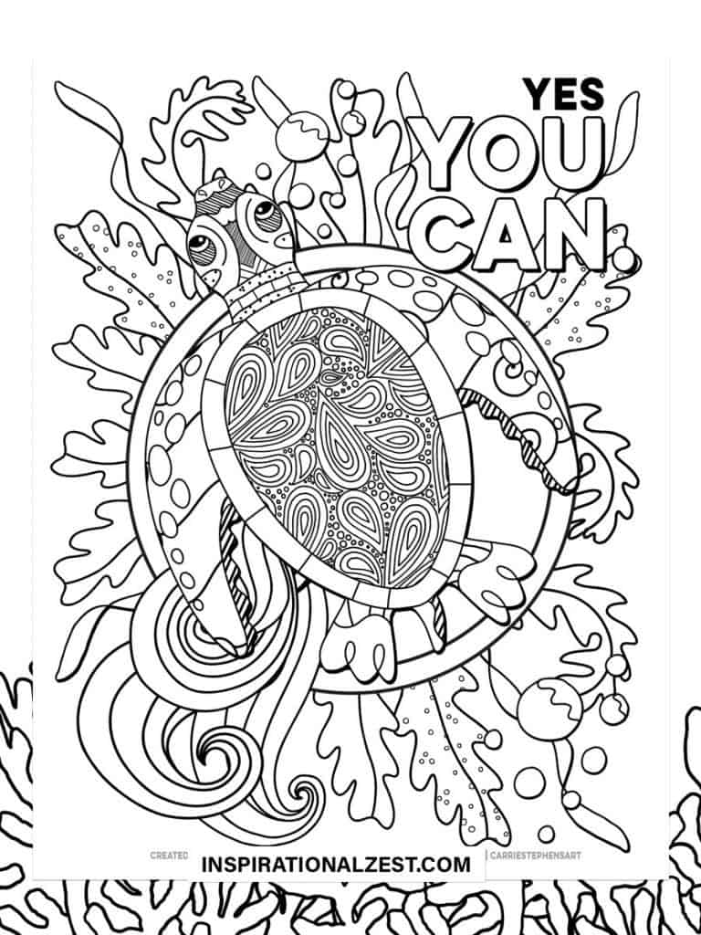 Yes you can typography Saying with Black and White Illustration of Sea Turtle