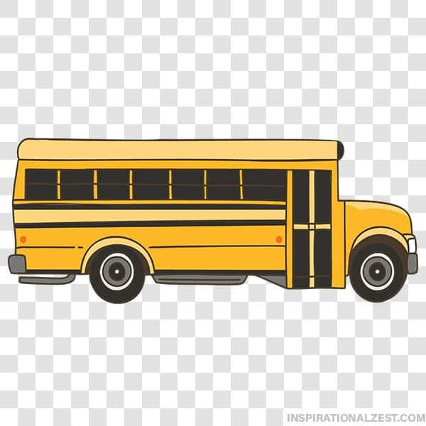 Long Yellow School Bus Transparent PNG ClipArt Image.