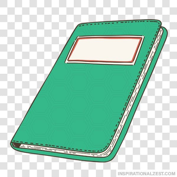 A Transparent ClipArt image of a Green Student Notebook