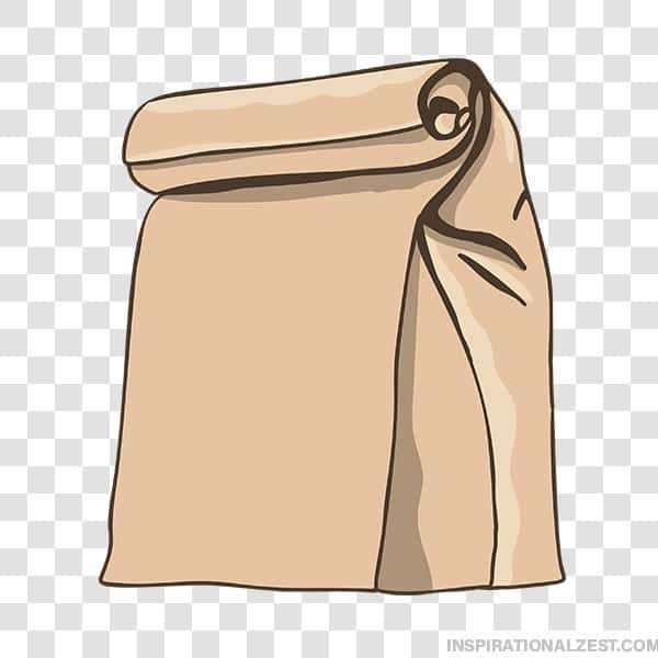 School Lunch Brown Bag Transparent PNG ClipArt Image.