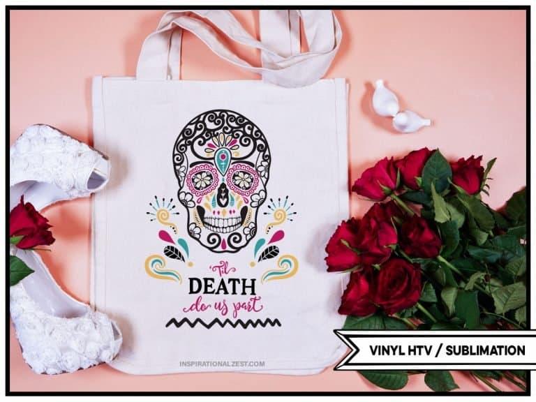 Multi Color Til Death Do Us Part Sugar Skull Design mockup example image on a tote bag